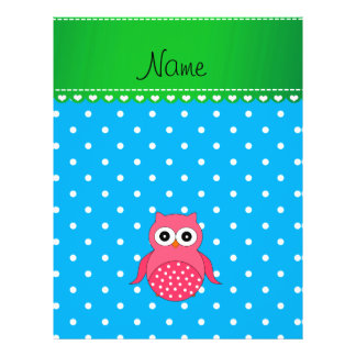 Personalized name pink owl blue polka dots flyer
