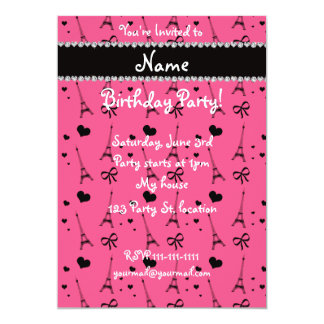 """Personalized name pink paris eiffel tower 5"""" x 7"""" invitation card"""