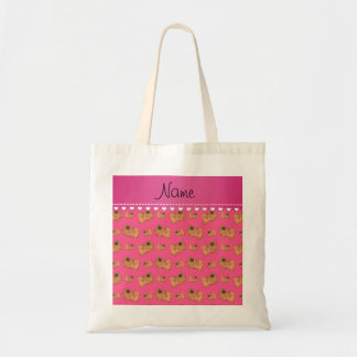 Personalized name pink Pekingese dogs Tote Bag