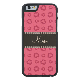 Personalized name pink recycling pattern carved® maple iPhone 6 slim case