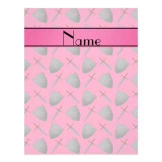Personalized name pink shields and swords flyers