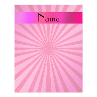 Personalized name pink sunburst flyer design