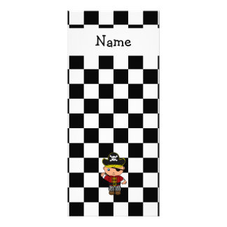 Personalized name pirate black white checkers rack card template