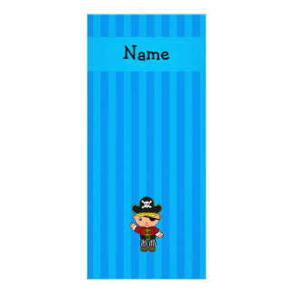 Personalized name pirate blue stripes rack card