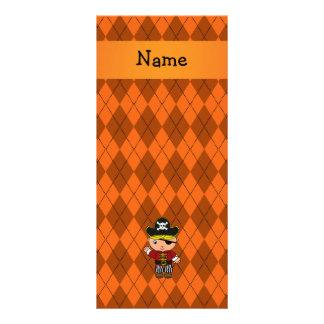 Personalized name pirate orange argyle custom rack cards