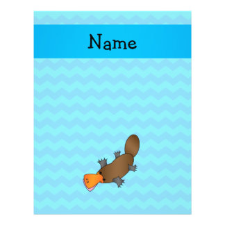 Personalized name platypus blue chevrons full color flyer
