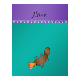 Personalized name platypus green 21.5 cm x 28 cm flyer