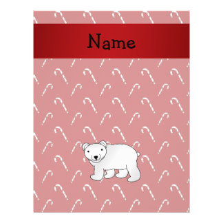 Personalized name polar bear candy cane pattern flyers