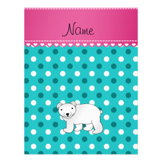 Personalized name polar bear turquoise white dots custom flyer