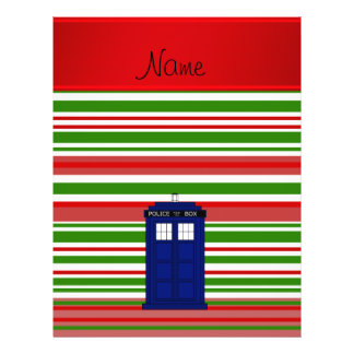 Personalized name police box red green stripes flyer design