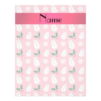 Personalized name pretty pink snowman christmas 21.5 cm x 28 cm flyer