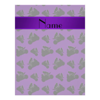 Personalized name purple black motorcycle racing 21.5 cm x 28 cm flyer