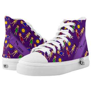 Personalized name purple cute boy wrestlers mat high tops