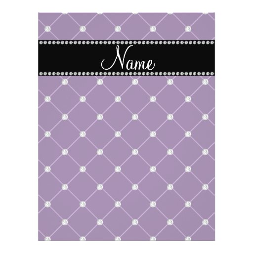 Personalized name Purple diamonds Flyers