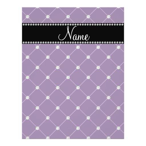 Personalized name Purple diamonds Flyers