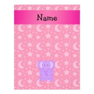 Personalized name purple elephant flyers