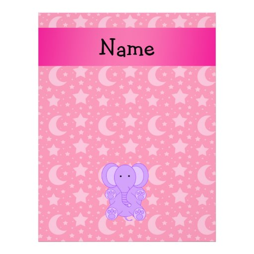 Personalized name purple elephant flyers