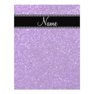 Personalized name purple glitter 21.5 cm x 28 cm flyer