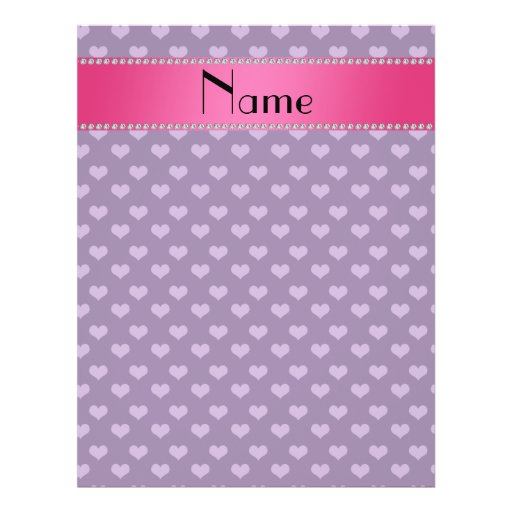 Personalized name purple hearts flyer design