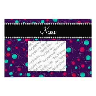 Personalized name purple knitting pattern photo art
