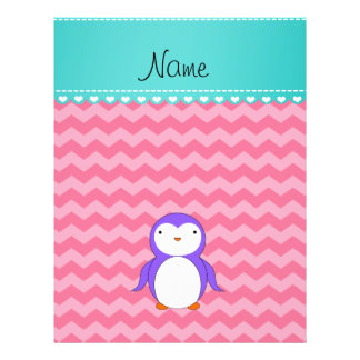 Personalized name purple penguin pink chevrons custom flyer