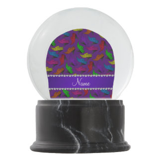 Personalized name purple rainbow vintage shoes snow globe