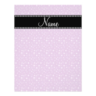 """Personalized name Purple white stars 8.5"""" X 11"""" Flyer"""