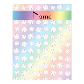 Personalized name rainbow baseballs pattern flyer