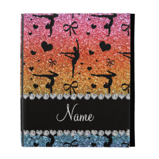 Personalized name rainbow glitter gymnastics iPad case