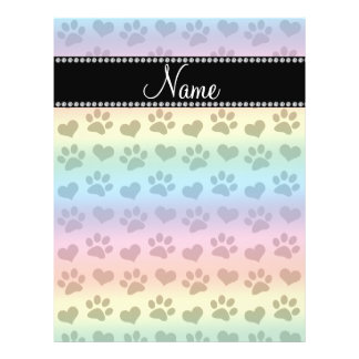 Personalized name rainbow hearts and paw prints full color flyer