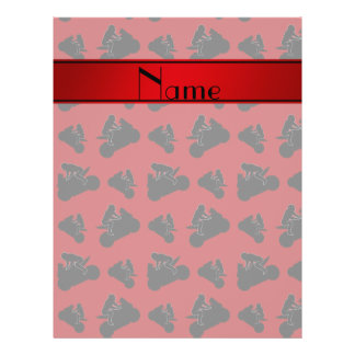 Personalized name red black motorcycle racing 21.5 cm x 28 cm flyer
