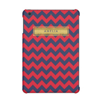 Personalized Name Red Blue Chevron Faux Gold