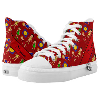 Personalized name red cute boy wrestlers mat high tops