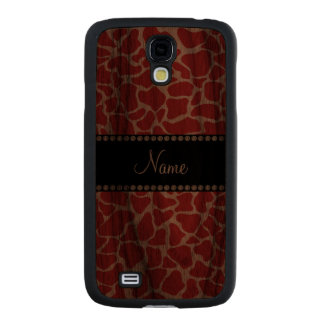Personalized name red giraffe pattern carved® walnut galaxy s4 case