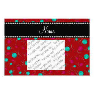 Personalized name red knitting pattern art photo