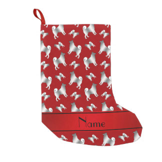 Personalized name red Norwegian Elkhound dogs Small Christmas Stocking
