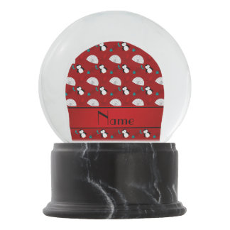 Personalized name red penguins igloo fish squid snow globe