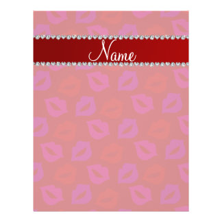 Personalized name red pink lips 21.5 cm x 28 cm flyer