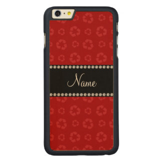 Personalized name red recycling pattern carved® maple iPhone 6 plus case
