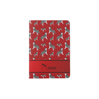 Personalized name red siberian husky dogs passport holder