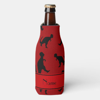 Personalized name red trex dinosaurs bottle cooler