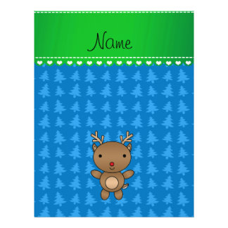 Personalized name reindeer blue christmas trees personalized flyer