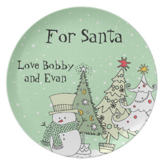 personalized name santa cookie plates
