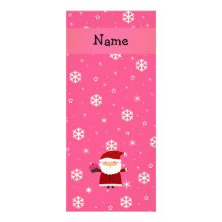 Personalized name santa cupcake pink snowflakes custom rack card