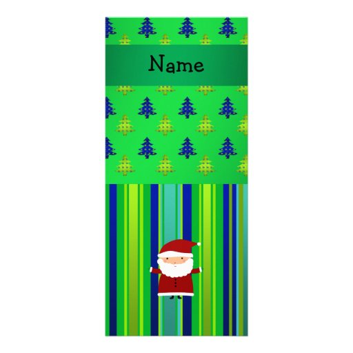 Personalized name santa green blue christmas trees rack cards