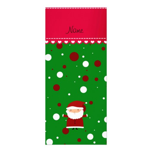 Personalized name santa green red white polka dots rack card template
