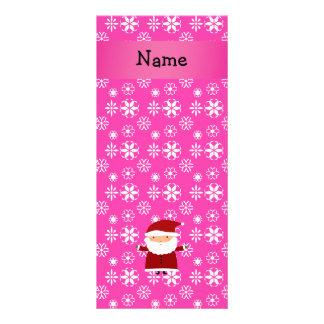 Personalized name santa pink snowflakes custom rack cards