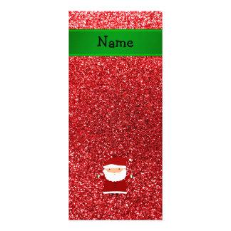 Personalized name santa red glitter custom rack cards