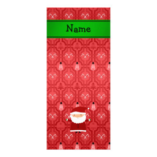 Personalized name santa red snowman trellis personalized rack card