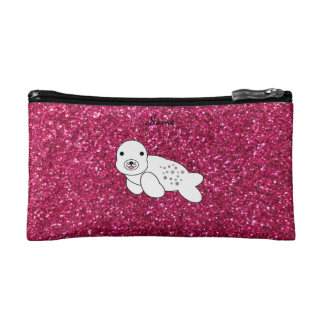 Personalized name seal pup pink glitter makeup bags
